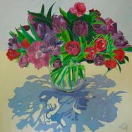 Flowers in a glass Vase (print)